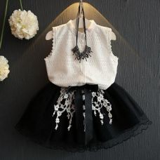 Buy Cute White And Black Skirt Set from Hopscotch