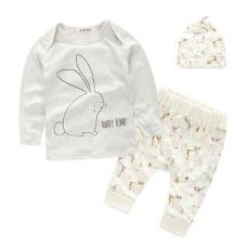 Buy White Full Sleeves T-Shirt and Bottom with Cap Set from Hopscotch