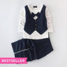 Navy Waistcoat Style T-Shirt And Pant Set for Rs. 949