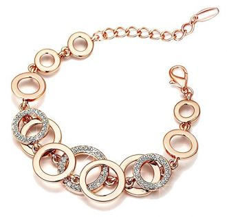 Yutii Circle Links Rose Gold Crystals Bracelet For Girls And Women for Rs. 699