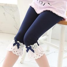 Buy Navy Capri With Schiffli Lace from Hopscotch