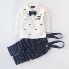 Buy White T-Shirt With Suspender Pant Set from Hopscotch
