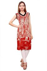 Buy Kurti Studio Festive Red White Unstitched Premium Cotton Rayon Kurti Dress Material from Amazon