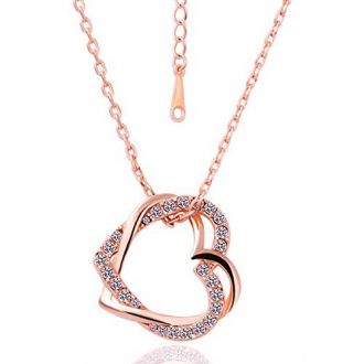 Shining Diva Fashion Embracing Hearts-In-Love 18K Rose Gold Plated Austrian Crystal Pendant Necklace For Girls/Women for Rs. 299