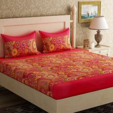 Buy Bella Casa Cotton Printed Double Bedsheet  (1 Double Bed Sheet + 2 Pillow Covers, Red) from Flipkart