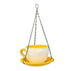 @home Ceramic Cup Saucer Hanging Planter (20 cm x 20 cm x 30 cm, Yellow) for Rs. 433