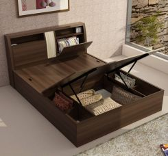 Buy Spacewood Monarch Engineered Wood Queen Bed With Storage  (Finish Color -  Melamine) for Rs. 21,499