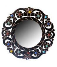 Clickflip Beige Wooden Wall Miror With Key Hanger Point Showpiece for Rs. 415