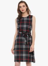 Flat 70% off on Mayra Black Checked Shift Dress