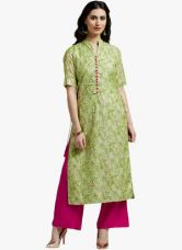 Get 65% off on Jaipur Kurti Green Printed Palazzo Kurta Set