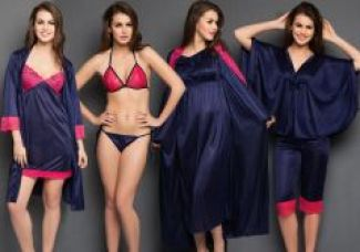 Get 56% off on Clovia 8 PCs Navy Color Nighty Set For Valentine Gift