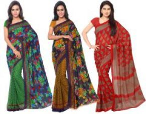 Flat 73% off on Triveni Set Of 3 Green Yellow And Red Faux Georgette Casual Saree (code - Tsco155 )