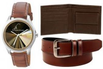 Buy Combo Of Jack Klein Graphic Watch And Leather Belt With Leather Wallet for Rs. 299