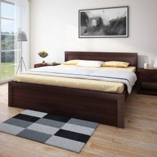 Get 63% off on HomeTown Dazzle without Storage Engineered Wood Queen Bed  (Finish Color -  Walnut)