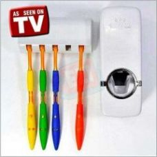 Buy Automatic Toothpaste Dispenser And Tooth Brush Holder Set - White for Rs. 199