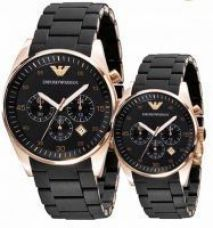 Imported Emporio Armani Couple Ar5905 Ar5906 Black Chronograph Watches for Rs. 9,899