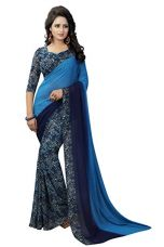 J B Fashion Women's with Blouse Piece Saree (H-saree for women-trump_Blue_Free Size) for Rs. 549