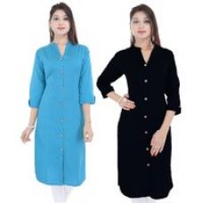 Get 75% off on PMM Creation Plain Cotton Stitched Kurti (Pack of 2)