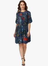 Label Ritu Kumar Navy Blue Coloured Printed Shift Dress for Rs. 2475