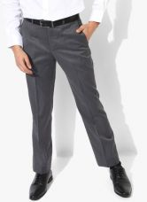 Buy Park Avenue Grey Textured Slim Fit Formal Trouser from Jabong