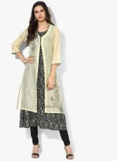 Buy Biba Black Embroidered Kurta With Jacket for Rs. 1320