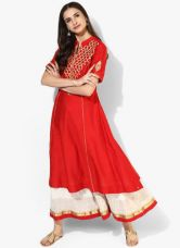 Buy Biba Red Embroidered Kurta for Rs. 1620