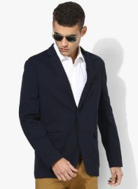U.S. Polo Assn. Navy Blue Solid Blazer