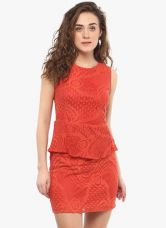 Buy Mayra Orange Coloured Self Pattern Bodycon Dress for Rs. 449