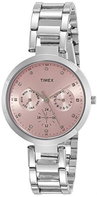 Buy Timex E-Class Analog Pink Dial Women's Watch - TW000X206 from Amazon