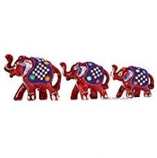 Buy DreamKraft Paper Mache and Pure Rajasthani Lac set of 3 showpiece Elephant for Home Decor and Gift purpose-Red from Amazon