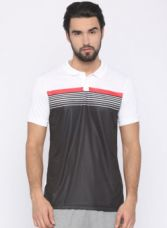 Get 50% off on FILA White & Black Colourblocked Polo Collar T-Shirt