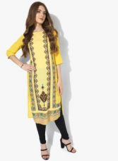 Flat 50% off on AURELIA Yellow Printed Kurta