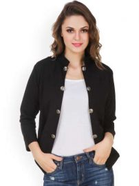 Flat 55% off on Purple Feather Black Open Front Jacket