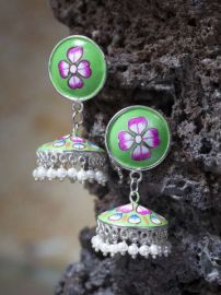 Buy Moedbuille Silver-Plated & Hand Painted Dome Shaped Jhumkas from Myntra