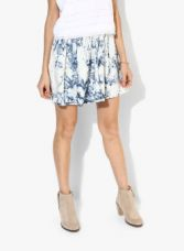 Flat 55% off on Vero Moda Off White Printed Flared Skirt