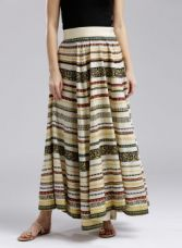 Flat 65% off on W Off-White & Black Printed Maxi Flared Skirt