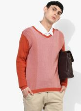 Buy Park Avenue Orange Striped Pullover Sweater for Rs. 1074