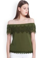 Buy Vero Moda Olive Green Solid Bardot Top for Rs. 764