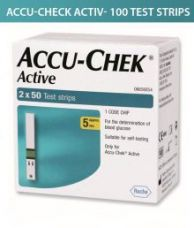 Get 16% off on Accu-Chek ACTIVE 100 SUGAR TEST STRIPS ( 2 X 50 ) Expiry Jan-2020