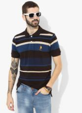 Buy U.S. Polo Assn. Multi Striped  Regular Fit Polo T-shirt for Rs. 949
