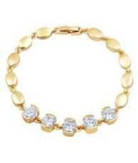 Flat 88% off on Asmitta Fine Round Shape Stone Gold Plated Bracelet For Women