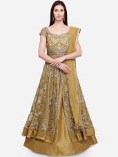 Stylee LIFESTYLE Golden-Coloured Net Semi-Stitched Dress Material for Rs. 6404