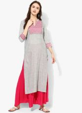 Embroidered Mandarin Collar Kurta With 3/4th Sleeves Teamed Up With Solid Palazzo And Net Dupatta for Rs. 1619