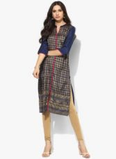 Buy AURELIA Blue Printed Kurta from Jabong