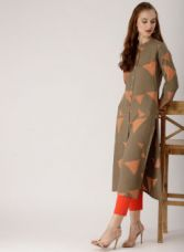 Buy Libas Taupe & Coral Orange Printed Straight Kurta for Rs. 674