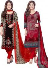 Flat 20% off on Pack Of Two Crepe Salwar Suit With Chffion Dupatta Material Un-stitched(code-combo I)