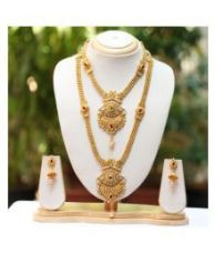 Buy Swarajshop Antique Gold Plated Haram Double Strand Artificial Maharani Necklace Set With Earrings from SnapDeal