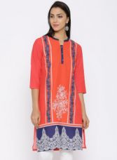 Flat 55% off on AURELIA Aurelia Orange Printed Kurta