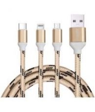 Buy PageX 1m Data Charging Cable (3 in 1) Type-C, Micro USB Connectors for Laptops, Macbook, Desktops, Android & Windows Devices (Golden) for Rs. 99