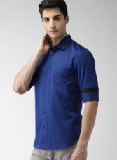 Buy Celio Blue Slim Fit Solid Casual Shirt from Jabong